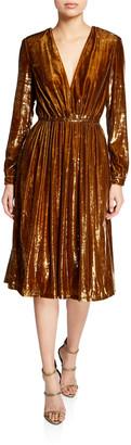 Adam Lippes Liquid Velvet Long-Sleeve V-Neck Dress