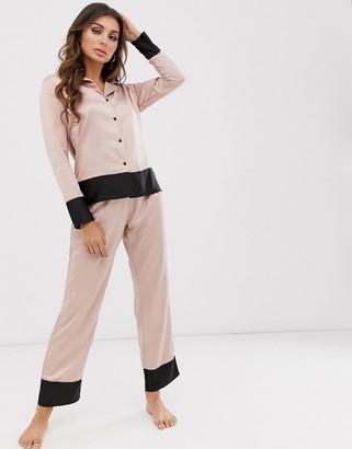 Bluebella Drew satin revere pyjama set with boarder detail in pink