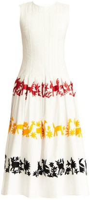 Carolina Herrera Graphic Plisse A-Line Dress