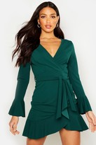 boohoo Haz Frill Sleeve Tie Waist Ruffle Hem Tea Dress