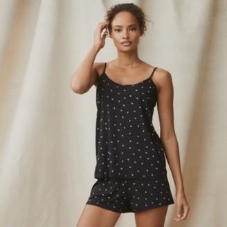 The White Company Ditsy Leaf Shortie Pyjama Set, Black, Extra Small