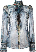 Roberto Cavalli printed sheer shirt - women - Silk/Polyester - 42