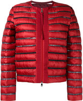 Moncler sheer panel padded jacket - women - Feather Down/Polyamide/Polyester - 1