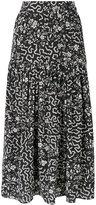 Isabel Marant geometric and floral print skirt - women - Silk/Spandex/Elastane - 40