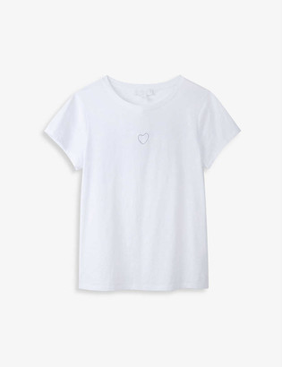 The White Company Heart-embroidered jersey-cotton T-shirt