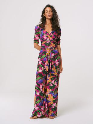 Diane von Furstenberg Abbie Mesh Faux-Wrap Bodysuit