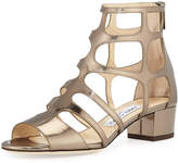 Jimmy Choo Ren Mirrored Caged 35mm Sandal, Antique Military Gold