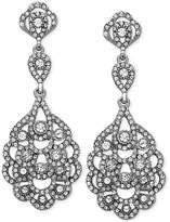 Nina Silver-Tone Geometric Crystal Drop Earrings
