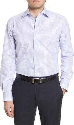 David Donahue Plaid Trim Fit Dress Shirt
