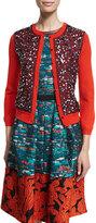Oscar de la Renta 3/4-Sleeve Sequin-Front Cardigan, Poppy/Navy