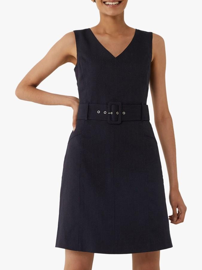 Warehouse Pinstripe Belted Dress, Navy