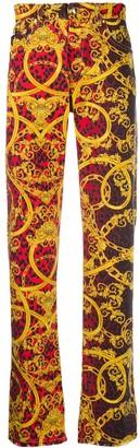 Versace Leo Chain print jeans