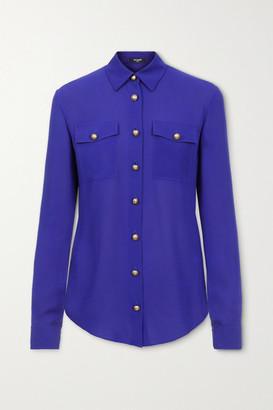 Balmain Silk-georgette Blouse - Bright blue