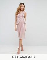 Asos One Shoulder Fold Scuba Midi Bodycon Dress