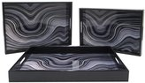 Three Hands Marbled Wood Trays, Set of 3 - Multicolor