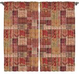 Oriental Design Digital Print Bedroom Living Room Dining Room Kids Youth Room Curtain Panels One of a Kind 2 Panel Set - Machine Washable Silky Satin Window Treatment, Red Mustard Brown Purple Camel