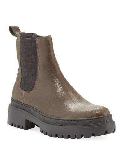 842e2e76669 Buffed Leather Lug-Sole Booties with Cashmere Gore