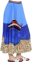 Stella Jean Boat Print Plisse Georgette Midi Skirt