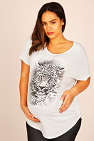 Yours Clothing BUMP IT UP MATERNITY Ivory Leopard Print Short Sleeve Top With Shimmer Disc Overlay