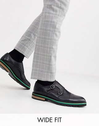 Silver Street wide fit leather brogue monk shoe in black