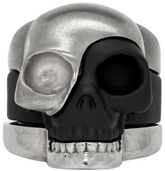 Alexander McQueen Gunmetal Divided Skull Ring Set