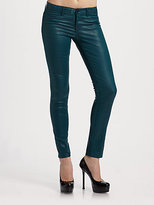 Low-Rise Coated Twill Skinny Pants