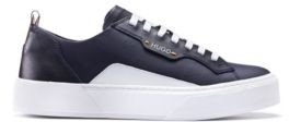 HUGO BOSS Tennis Inspired Sneakers In Coated Fabric And Calf Leather - White