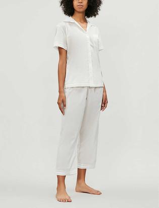 POUR LES FEMMES Lace-detail cotton pyjama set