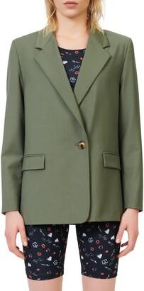 Maje Stretch Wool Suit Blazer