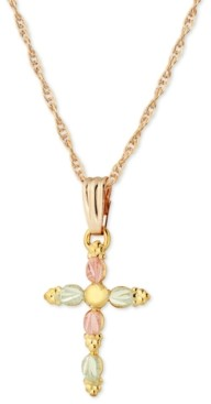 Black Hills Gold Grape and Leaf Cross Pendant in 10k Yellow Gold with 12k Rose and Green Gold