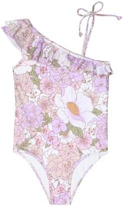 Zimmermann Kids Bellitude floral one-shoulder swimsuit