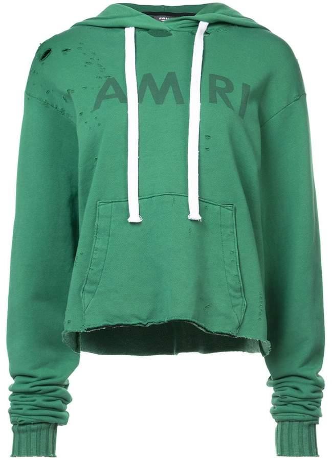 Amiri distressed cropped hoodie