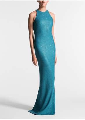 St. John Luxe Sequin Tuck Knit Halter Neck Gown