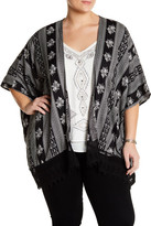 Angie Embroidered Lace Hem Kimono (Plus Size)