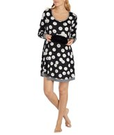 Kensie Dotted Jersey Sleepshirt with Crowned Faux-Fur Eye Mask