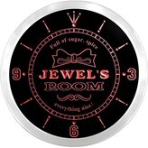 AdvPro Clock ncpe0523-r Jewel's Girl Princess Kids Room Night Light Neon Sign LED Wall Clock