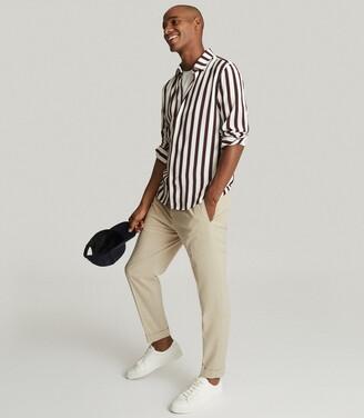 Reiss Keanu - Striped Shirt in Burgundy