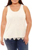 Boutique + + Knit Lace Tank Top-Plus