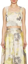 ABS by Allen Schwartz Floral Jacquard Back V Crop Top