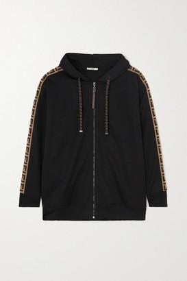 Fendi Rama Jacquard-trimmed Jersey Track Jacket - Black