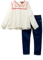 7 For All Mankind Long Sleeve Blouse & Jean Set (Toddler Girls)