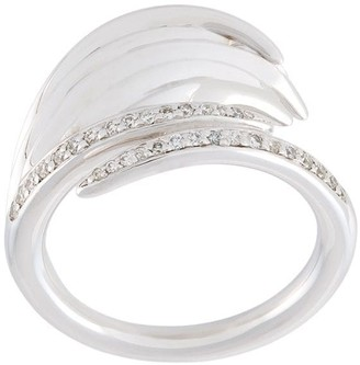 Shaun Leane sterling silver Feather diamond ring