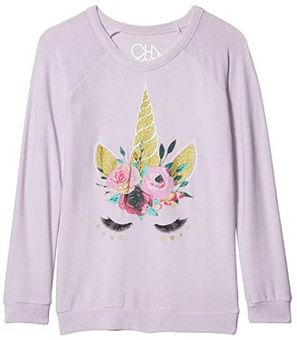 Chaser Unicorn Lashes Cozy Knit Raglan Pullover (Little Kids/Big Kids) (Posy) Girl's Clothing