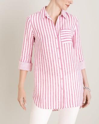 No Iron Linen Striped Shirttail Hem Tunic