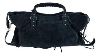 Balenciaga City Navy Suede Handbags