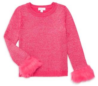 Design History Little Girl's & Girl's Faux Fur-Trim Top