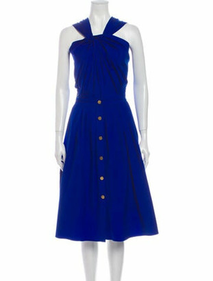 Vionnet Halterneck Midi Length Dress Blue