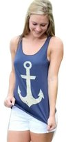 Gasion Women Girls Sleeveless Halter Backless Low O-Neck Anchor Print T-Shirt Vest Asian M