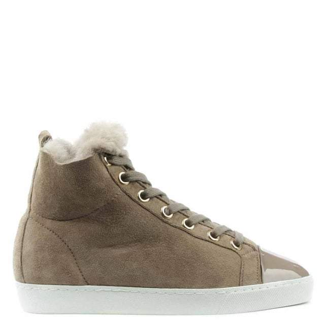 Högl Shearl Taupe Suede Shearling Lined High Top Trainer