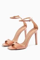 Topshop Womens Silvy Blush Pink Skinny Two Part Heel Sandals - Blush